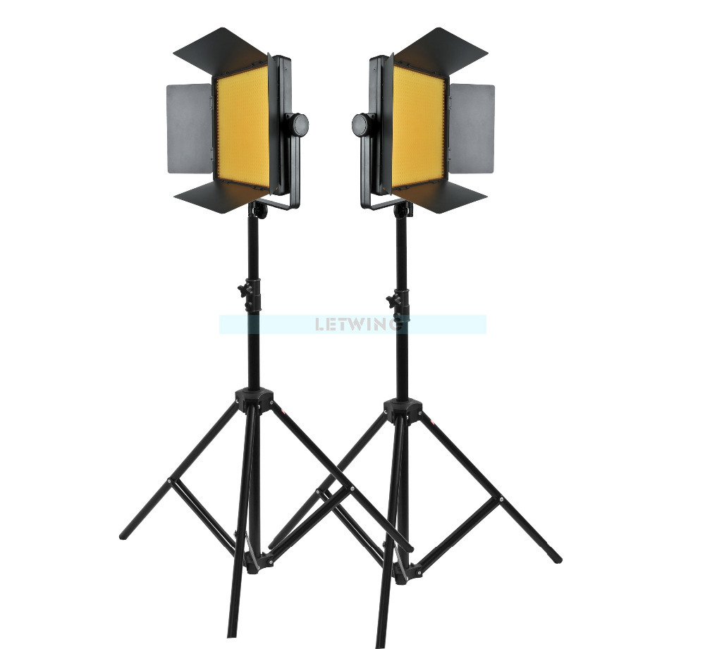 Yellow Version Godox 2000 2X 1000 LED Photo Studio Video Continuous Light Kit For Photography Video Wedding Camera Camcorder DV 2pcs godox sl100y 3300k video continuous light 60x90cm softbox light stand photo studio equipment kit yellow version