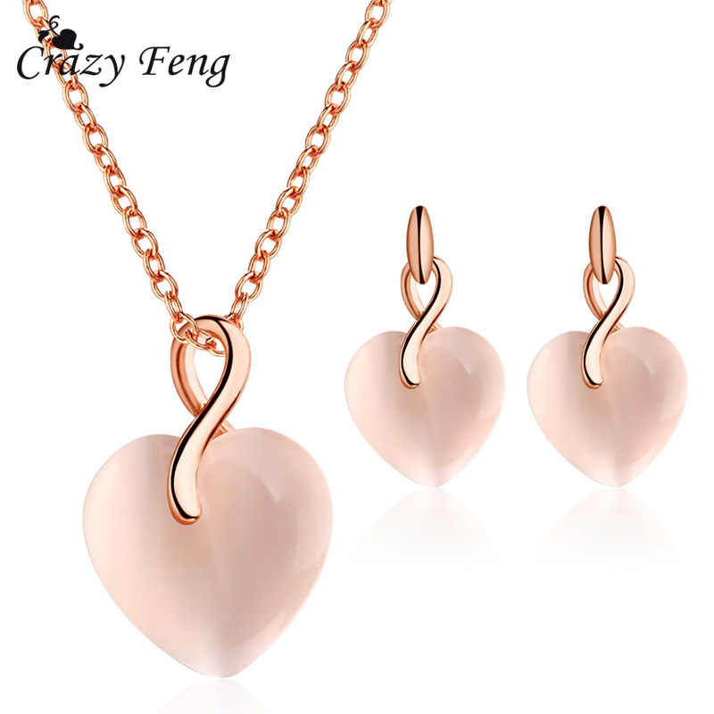 2018 Fashion Rose Gold Color Indian Jewelry Set for Women Chain Pendant Necklace Heart Earrings Female Bohemia Statement Jewelry
