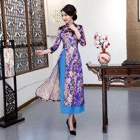 New Arrival Chinese Women's Elegant Catwalk Qipao Printed Lady Qipao Aodai Dress Cheongsam Sexy Dress Clothing Plus Size XXXL