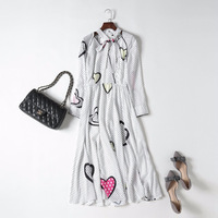 European women's wear 2018 The new spring Runway looks Long sleeve v neck Wave dot heart printing dress