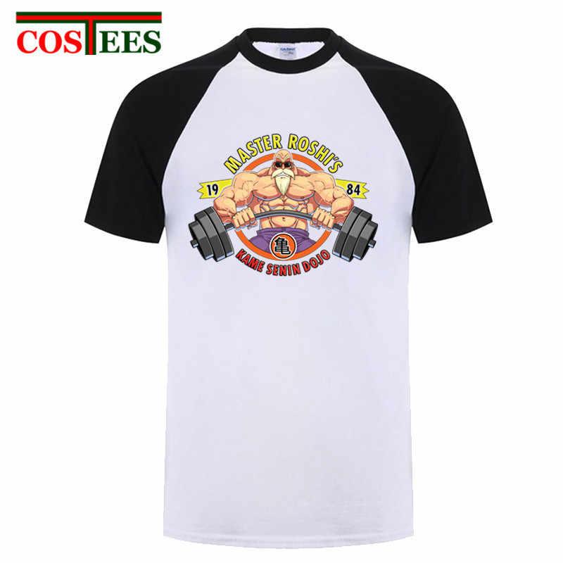 Мастер Роши Каме сенин футболка для мужчин 2018 Лето Dragon Ball Z Фитнес Футболка homme Повседневная GYMer хлопок супер сайян рубашка Гоку