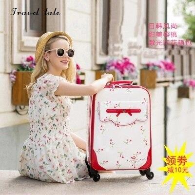HJX conte de voyage mode belle chat 16/20/24 inch100 % PU roulement bagages Spinner marque valise de voyageHJX conte de voyage mode belle chat 16/20/24 inch100 % PU roulement bagages Spinner marque valise de voyage