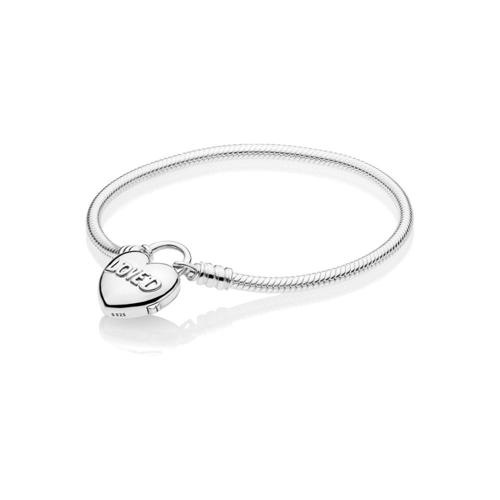 Authentique 925 Bracelet en argent Sterling amour coeur serrure serpent chaîne Bracelets Bracelets pour les femmes de mariage bijoux cadeau