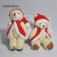 6 सेमी क्रिसमस भालू बच्चों के लिए DIY निष्कर्ष शादी सजावट खिलौने के लिए गुड़िया आकर्षण आलीशान खिलौना लटकन भरवां