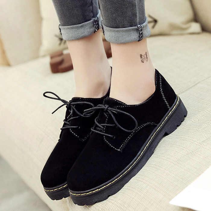 EAGSITY süet oxford ayakkabı kadınlar flats lace up yuvarlak ayak açık ayakkabı yürüyüş spor ayakkabı parti ofis kariyer sevimli ayakkabılar