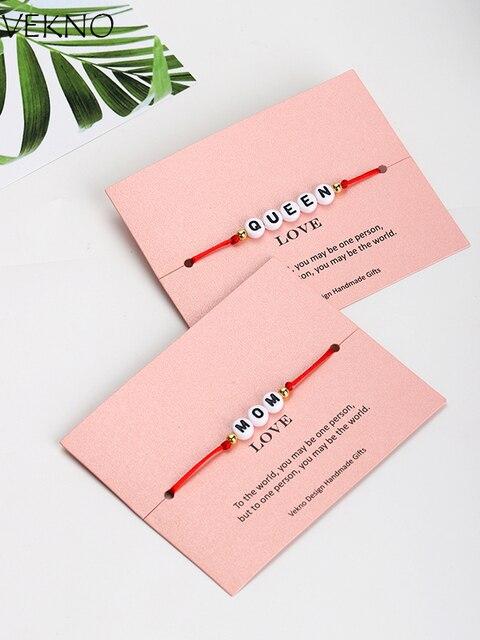VEKNO Casal Personalizado Carta Talão Dele e Dela Pulseira Homens Mulheres Red & Black Corda Corda Ajustável Pulseiras Nome DIY jóias