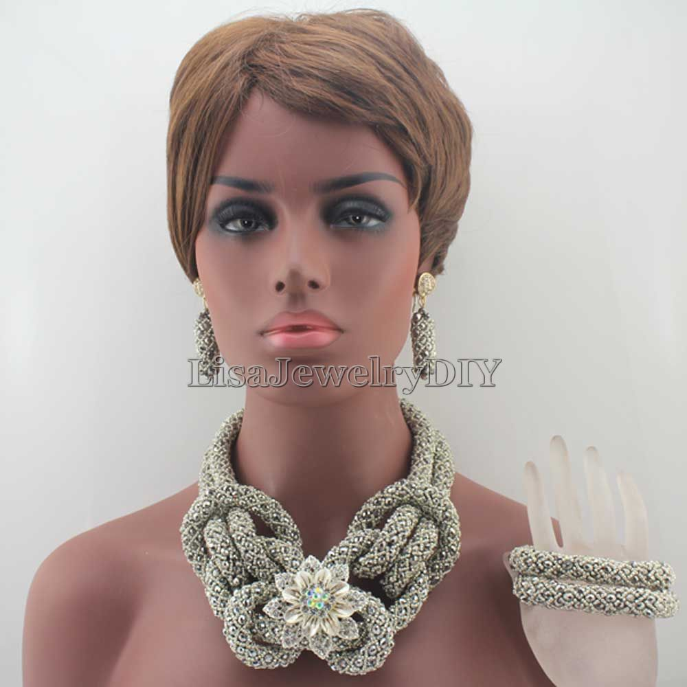 New Fashion Silver Women Costume Nigerian African Beads Jewelry Set Crystal Free Shipping HD7832