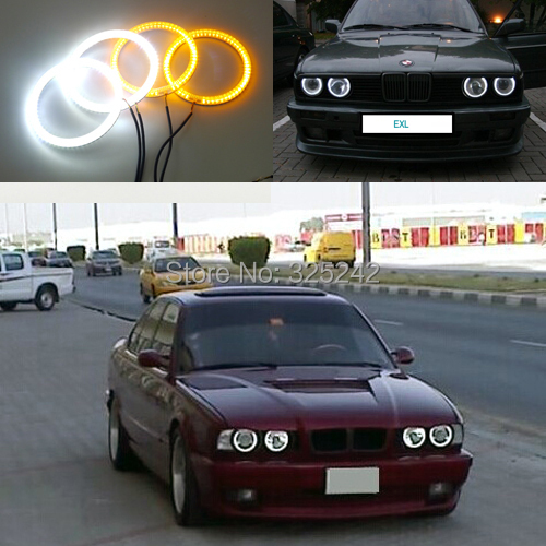 For BMW E30 E32 E34 Excellent Ultra bright Dual Color Switchback smd LED Angel Eyes Halo Rings kit цена