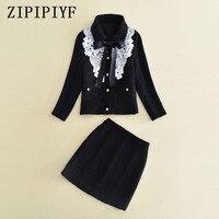 ZIPIPIYF Two Piece Set Women Elegant Office Lady Black Woolen Crop Top Jacket Coat Mini Skirt