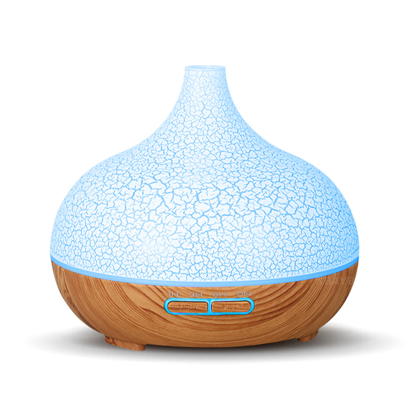 400 ML Air Humidifier Aroma Essential Oil Diffuser With Wood Grain 7 Color Changing LED Lights