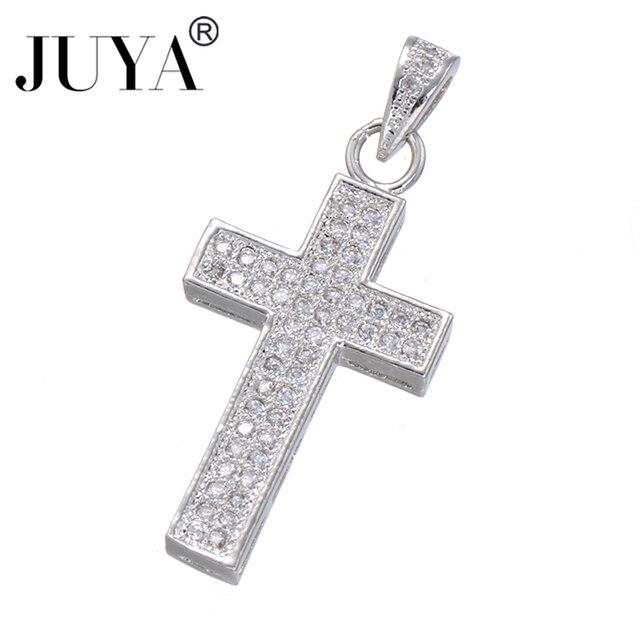 7b1c524f0e84 Fashion Classic Silver Copper Zircon Crosses Charm Pendant DIY Men Women  Bracelets Necklaces dijes bisuteria para