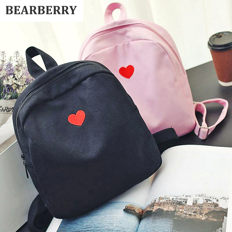BEARBERRY 2017 fashion women canvas backpacks lovely embroidery travel backpacks for girls school bags for teenagers