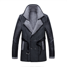 2017 New Men's Thick PU leather Winter Long Trench Coat Man Wool Windbreaker Coat Men turn-Down Collar jackets Size 3XL