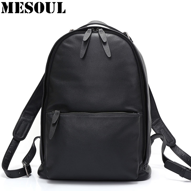 Fashion Backpack Male Genuine Leather Travel Backpack Rucksack High Quality Women/Men Double Zipper Laptop School Bag bagpack padieoe 2017 genuine leather new fashion men luxury male bag high quality waterproof laptop messenger travel backpack school bag