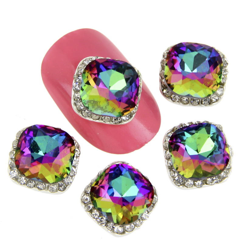 10Pcs/Lot Rainbow Crystal 3D Nail Art Charm Rhinestone Decoration Nail Sticker Jewelry Glitter Nail Tip For Women Manicure
