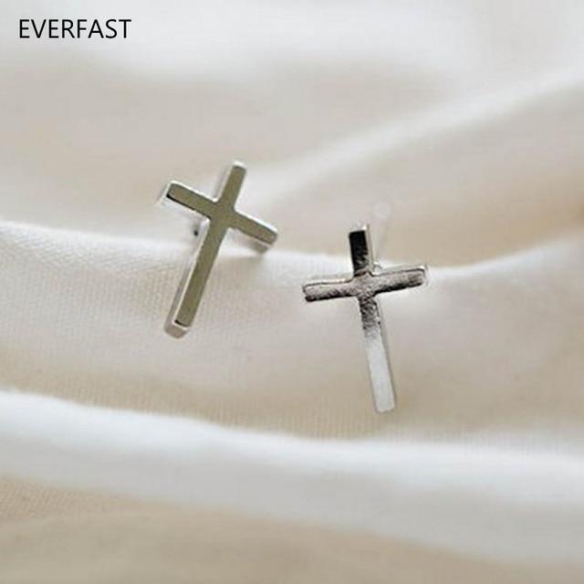 Everfast 1pair Cross Earring Tiny Studs Fashion Earrings Bijoux For Women Men Jewelry Gift