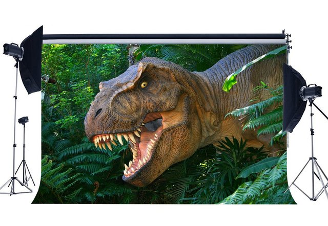 Динозавр фон Юрского периода джунгли зеленый древесные листья страшный динозавр фон для фотосъемки