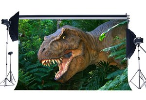 Image 1 - Dinosaurier Hintergrund Jurassic Zeitraum Dschungel Wald Grüne Bäume Blätter Scary Dinosaurier Fotografie Hintergrund