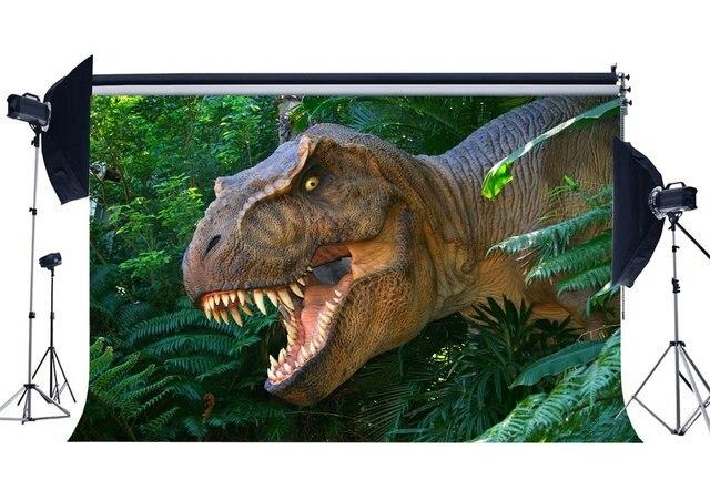 Dinosaurier Hintergrund Jurassic Zeitraum Dschungel Wald Grüne Bäume Blätter Scary Dinosaurier Fotografie Hintergrund