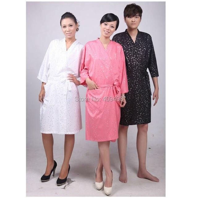 A012 blanco rosa negro Salon SPA cliente pijamas batas vestido con la correa del corte del cabo