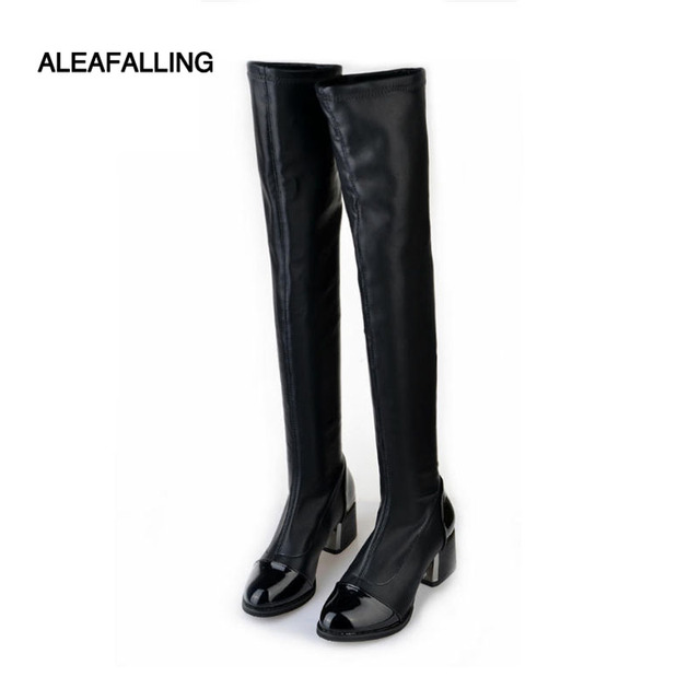 e9cce84e1bc US $16.37 25% OFF|Aleafalling Over knee Pu Soft Leather Thin or Thicken  Liner Women Fashion Boots Spring or Winter 6cm Heel High Snow Boots  WBT113-in ...