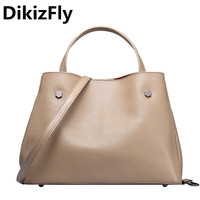 DikizFly Soft Genuine Leather Women Handbags Casual Totes Bag Real Leather Brand Work Handbag Purse Elegant