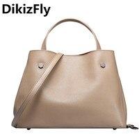 DikizFly Soft Genuine Leather Women handbags Casual Totes Bag Real Leather Brand Work Handbag Purse Elegant messenger bags bolsa