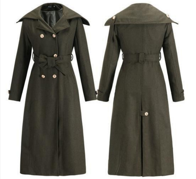 dfb81cea53d3 Starlist Women Fashion Double Breasted Adjustable Waist Turn Collar Slim  Army Color Wool Blends Coat Jacket Long Warm Outwear