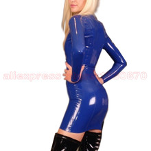 Темно-синий платье латекса с центральной застежкой на дно Стенд воротник LD206