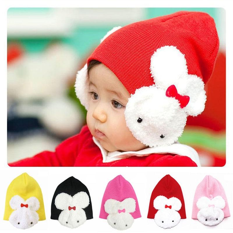 10 шт./партия,, 5 цветов, детская шапка с кроликом, хлопковая шапочка для малышей, детские шапки