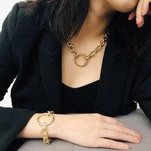 Personality punk exaggerated metal necklace bracelet simple geometric circle retro Necklace Bracelet