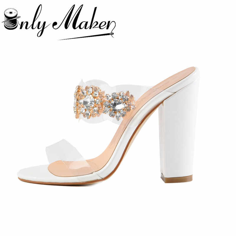 e5931bb94a8 onlymaker Women's Clear Rhinestone Studded High Heel Mules Open Toe Double  Straps Slip on Chunky Heeled 10CM Sandals Plus US15