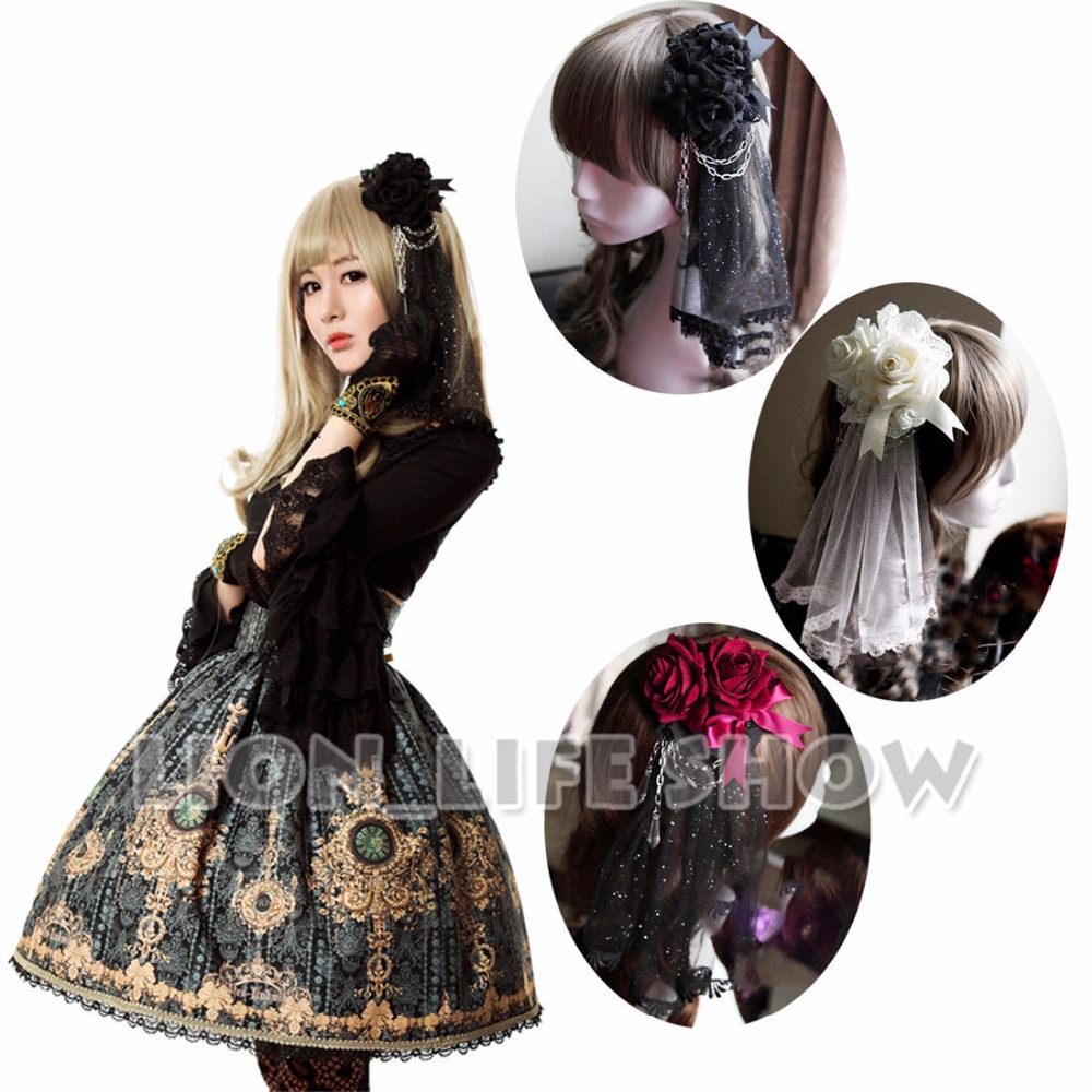 Deluxe Women Gothic Lolita Rose Lace Veil Vintage headwear Hair Accessories