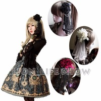Deluxe Women Gothic Lolita Rose Lace Veil Vintage headwear Hair Accessories