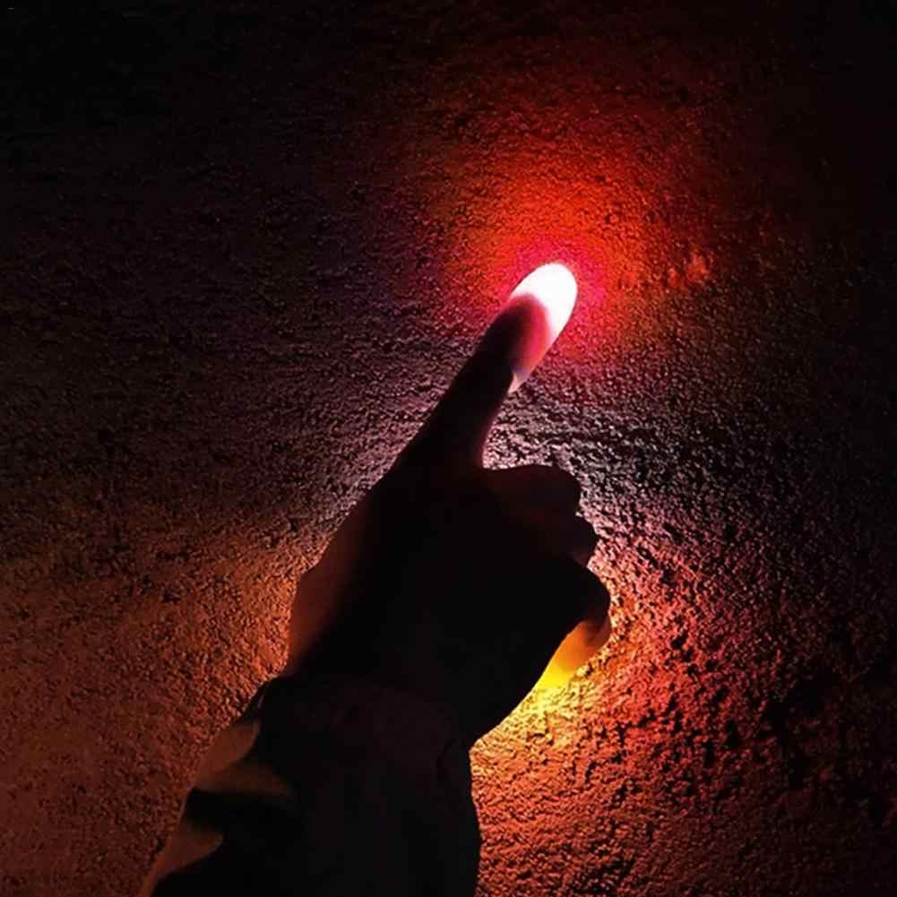 2 คู่ Creative Magic Makers สีแดง Light Up Thumb เคล็ดลับ LED สีแดง Thumb Thumb Light Illusion นุ่มมาตรฐานขนาด 4 Pcs Props
