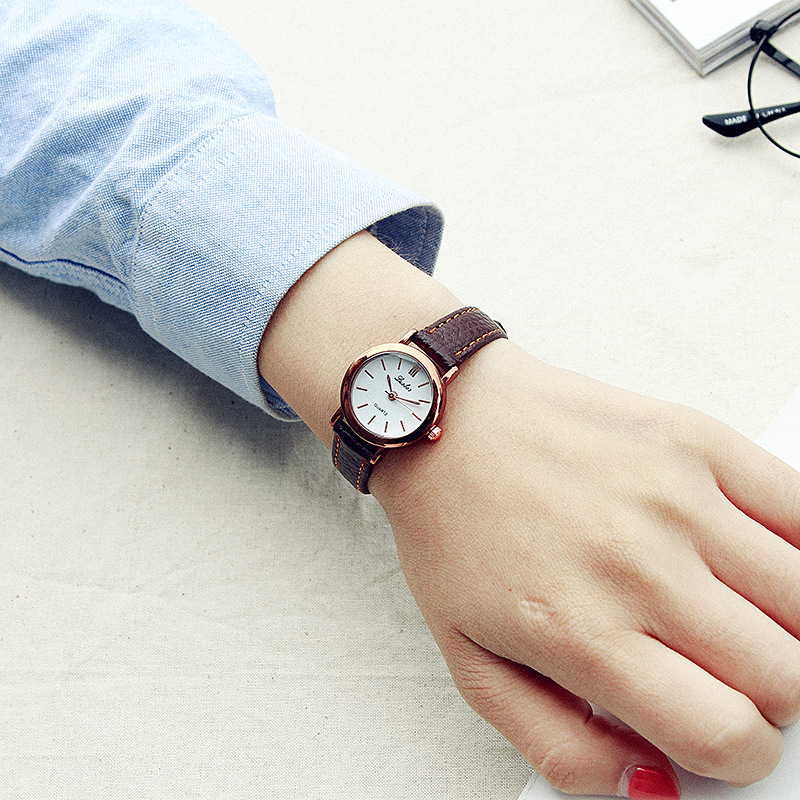 Top qualité en acier inoxydable édition coréenne dames montres en cuir quartz femmes montres amoureux cadeau