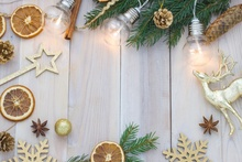 Laeacco Christmas Wooden Board Snowflake Light Bulb Photography Background Customized Photographic Backdrop For Photo Studio