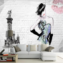2695 europe and the united states burst skull dj creative personality living room bedroom tv background decorative wall Wallpaper murals Europe and the United States Nordic hand-painted beauty vintage brick wall background wall