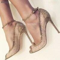Frühjahr Neue Mode Frauen Offene spitze Gold Bling Bling Diamant Pumpen Gold Kristall Knöchelriemen High Heels Strass Hochzeit Schuhe