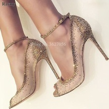Spring New Fashion Women Open Toe Gold Bling Bling Diamond Pumps Gold Crystal Ankle Strap High Heels Rhinestone Wedding Shoes