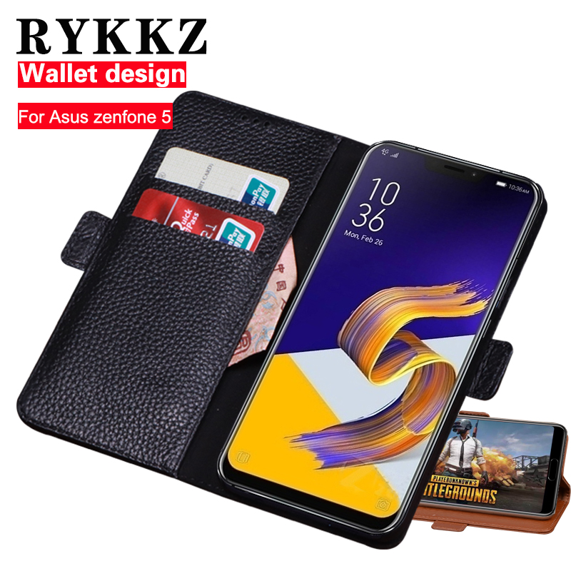 RYKKZ Genuine Leather Flip Cover Card For Asus Zenfone 5 Phone Case Protective Wallet Stand Case Leather Cover Mobile ZE620KL