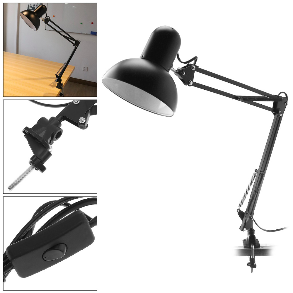 все цены на Black E27 Flexible Swing Arm Desk Lamp 360 Degree Rotation Office Home Reading Table Light with Rotatable Lamp Head Clamp Mount