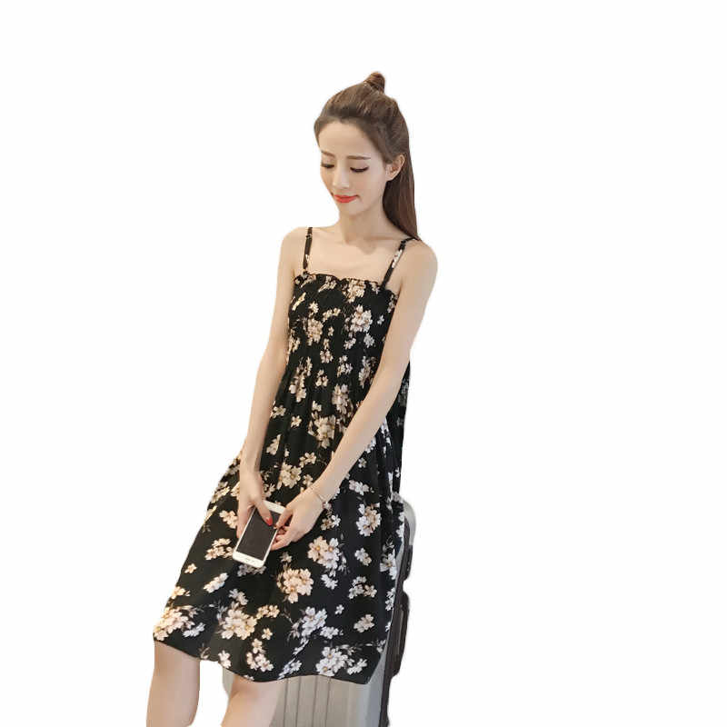 14df2fcb4b3d3 Summer Dress Women Black High Waist Dresses 2018 Korean Office Floral Print  Wrap Dress Royal Blue Temerament Slim Vestidos LD09