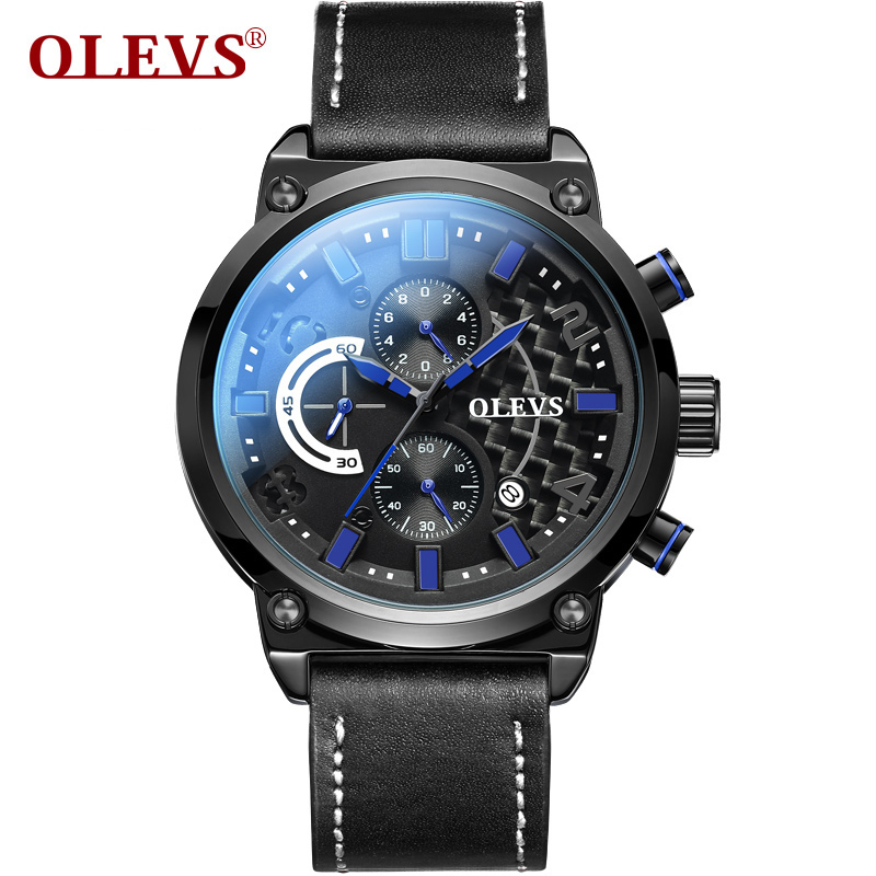 купить OLEVS  Men Sports Casual Watches Carbon Fibre Dial Three Time Leather Watchband Quartz Watch Waterproof relogio masculino G6828 недорого