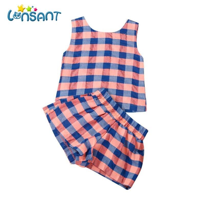 LONSANT New Baby Girls Vestidos Plaid Vest T-Shirt+Short Pants Fashion Sleeveless Roupas Infantis Menina Girls Dress