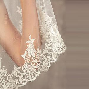 Image 3 - 2019 المرأة الأبيض/العاج الدانتيل طرحة زفاف طويل 3M كاتدرائية يزين حافة 1 طبقة ل الزفاف الكنيسة