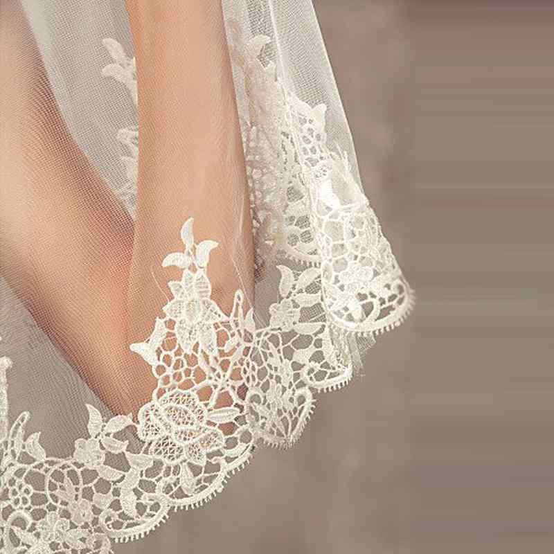 2019 frauen Weiß/Elfenbein Spitze Hochzeit Schleier Lange 3 M Kathedrale Spitze Rand Braut Schleier 1 Schicht Kirche Braut schleier