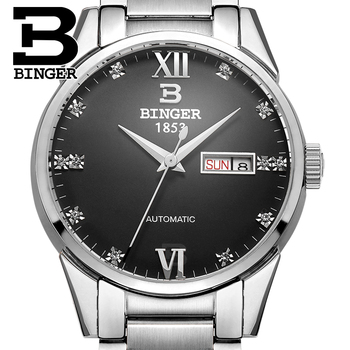 New Switzerland men's watch luxury brand BINGER Automatic Mechanical Watches full steel waterproof Diamond Clocks B1128-9