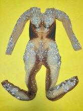 Sexy Rhinestones Jumpsuit Women's Leggings Bodysuit Nightclub Crystals Perspective Costume Female Singer Party Dress