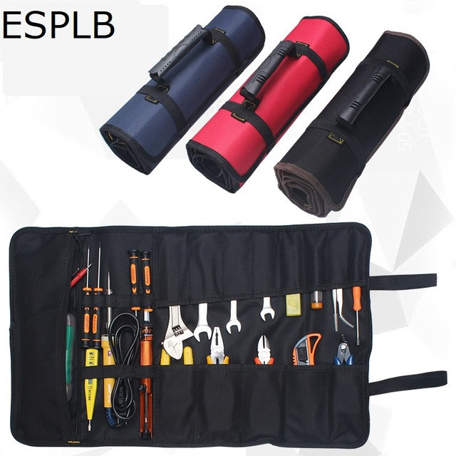 Us 8 2 24 Off Esplb Roll Tool Bag Large Wrench Up Portable Pouch 22 Pockets Kit For Electricians Mechanics In Bags From Tools On